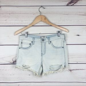 Free People Light Wash Distressed Cut Off Shorts